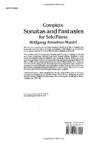 W.A. Mozart: Complete Sonatas And Fantasies For Solo Piano (Dover Music for Piano)