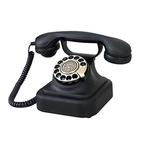 teléfono teléfono de la placa giratoria del dial del vintage negro, línea fija europea del hogar de la oficina antigua Teléfono de madera maciza