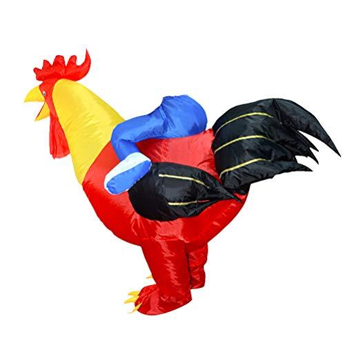 Kostüm Tier Blow Up - Amosfun Rooster Aufblasbares Kostüm Blow Up Kostüm Cosplay Party Halloween Party Kostüm für Erwashsene ohne Batterie 150-185cm (Rot)