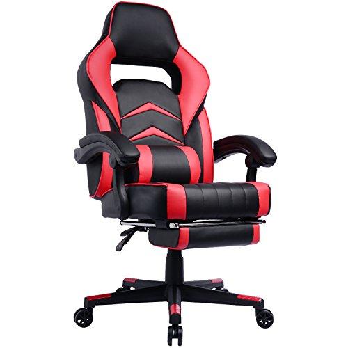 Silla videojuegos con reposapiés y respaldo reclinable, silla para gamers con reposacabezas y cojín lumbar, asiento gaming para oficina doméstica, computadora, trabajo y consolas de juego, estilo racing, ajuste de altura