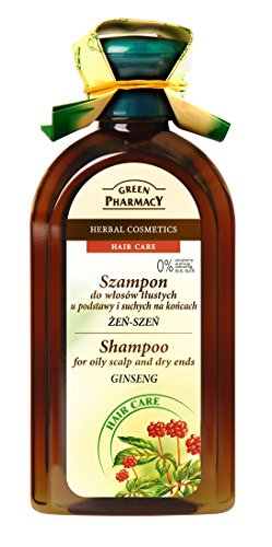 Green Pharmacy Shampoo with Ginseng for Oily Scalp and Dry Ends - Cruelty-Free / Not Tested on Animals / Free from Parabens, Artificial Colouring, SLS, SLES – 350ml