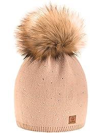 Winter Cappello Cristallo Più Grande Pelliccia Pom Pom invernale di lana  Berretto Delle Signore Delle Donne 07abf4c46536