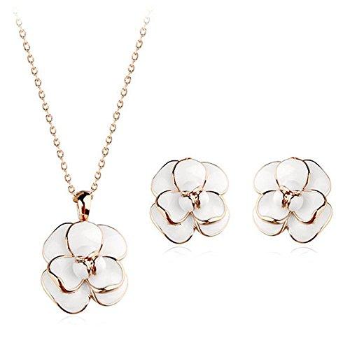 temperamento Moda piccole fresco fiore che sboccia collana orecchino belle idee regalo gioielli per lei , photo color