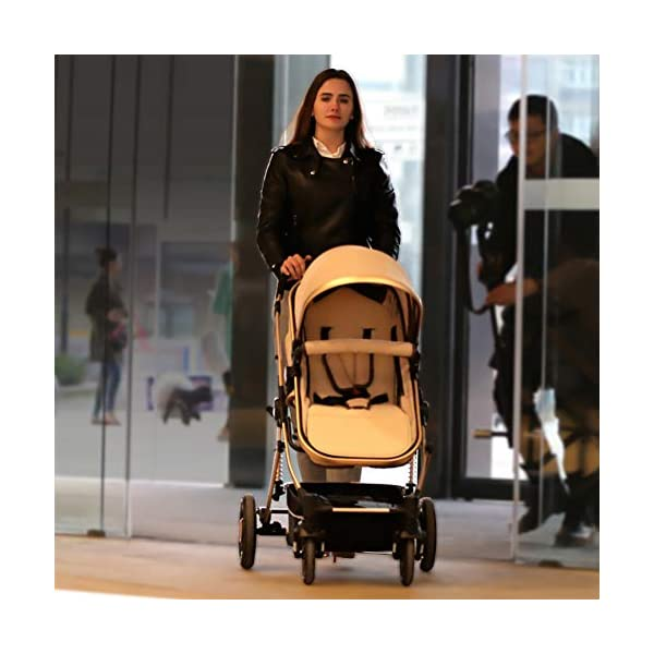 YSH Travel System Baby Stroller Pushchair High View Portable Baby Cart Suitable For Children From 0 To 36 Months /20KG,D-2 YSH Specifications - Stroller for children aged 0-3, standard load capacity 25 kg, maximum load capacity 50 kg, unfolded size 60 x 57 x 100 cm, folding size 80 x 50 x 62cm, net weight 8 kg Function - The stroller can take out the sleeping basket, fold easily, be smaller and easy to carry; adjustable backrest angle can sit or lie flat Features - Stroller can be folded quickly, capacity up to 50 kg / 110 lbs; with shock absorber system for smoother ride, adjustable backrest, comfortable ride, windproof, waterproof, all seasons 3