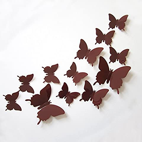 Clest F&H(R)12pcs 3D Butterfly Wall Stickers Decals Durable Plastic Butterfly Decorations Home Decoration(Coffee)