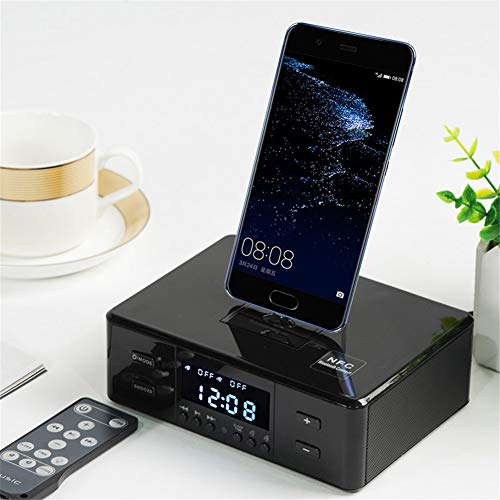 Reloj Despertador Digital Altavoz Bluetooth Tres En Uno Base De Carga Giratoria...