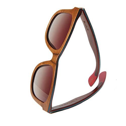 WOLA Damen Herren Sonnenbrille Holz AIR eckige Brille dicke Brücke Skateboard Holz - Ahorn polarisiert UV400 Nuss Unisex Damen L - Herren M