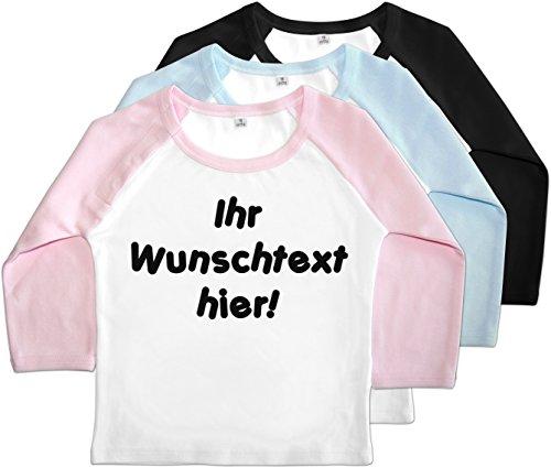 Baby Baseball Shirt (Rosa, Größe: 86) - mit Name/Wunschtext (Baby Baseball Shirt)