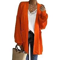 NINGSANJIN Damen Pullover Mode-Frauen-lose Lange Hülsen-Feste Taschen-Wolljacken-Oberseiten-Strickjacke Strickte Mantel