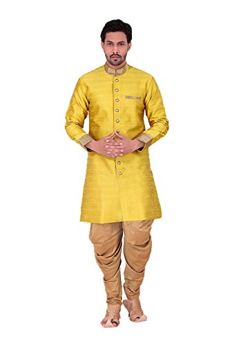 PCC Exquisite Banarasi Silk Yellow Mens Readymade Kurta