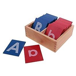 MagiDeal Tavoletta Di Legno Montessori Per Apprendimento Lettere Maiuscole Minuscole Alfabeto Educat