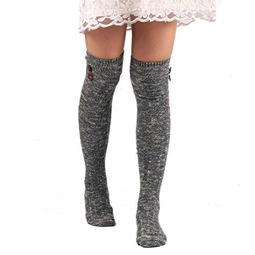 Kingko® Frauen-lange Bein-Wärmer-Socken über Knie Hohe Socke (Grau) (Socken Knie-hohe Fahrräder)
