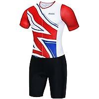 logas Men s Triathlon Tri Suit Short Sleeve Quick Dry Skinsuit Breathable Triathlon  Racing Suit with Extended 91f47a48b