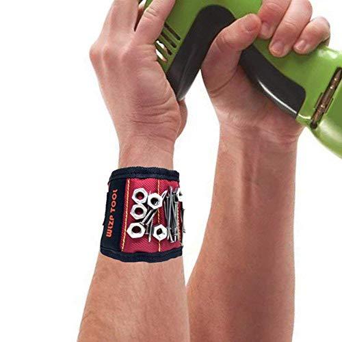 Magnetische Armbänder, Magnetarmband mit 5 starken Magneten, Schrauben, Nägel, Dübel, Bohrungen und kleine Werkzeuge und Schrauben Tasche -Best Werkzeug Geschenk für DIY Handwerker, Vater, Ehemann, Freund, Männer, Frauen