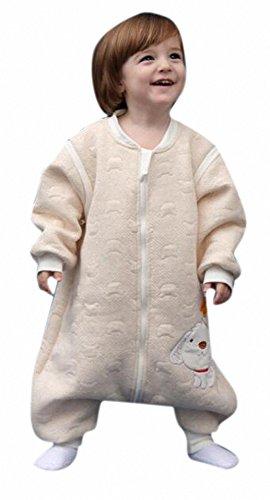 babySchläfsack winter kinderSchlafsack.Hund mit Füßen Baumwolle Junge Mädchen unisex ganzjahres Schlafanzug .Neugeborene pyjama/overall/Strampler (M:90cm 1-3Jahre)Beige) Sleeve Jersey-jacke