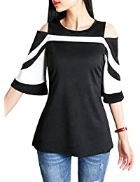 DSUK Donna off Spalla Maglietta a Righe Estate Elegant T Shirt di Moda 3/4 Manica Corta Camicetta con Cerniera