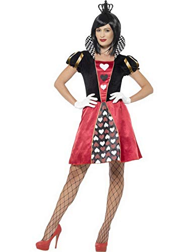 Luxuspiraten - Damen Frauen Herz Königinnen Kostüm Kartenkönigin Queen of Hearts, Kleid mit Handschuhe und Krone, perfekt für Karneval, Fasching und Fastnacht, S, Schwarz