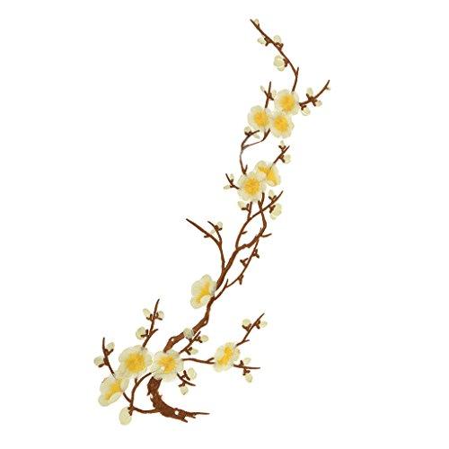 1Pcs Plum Blossom Blumen-Stickerei-Spitze Aufnäher Aufbügler Applikation Applique Bügelbilder Flicken Embroidered Iron on Patches (Gelb 3)