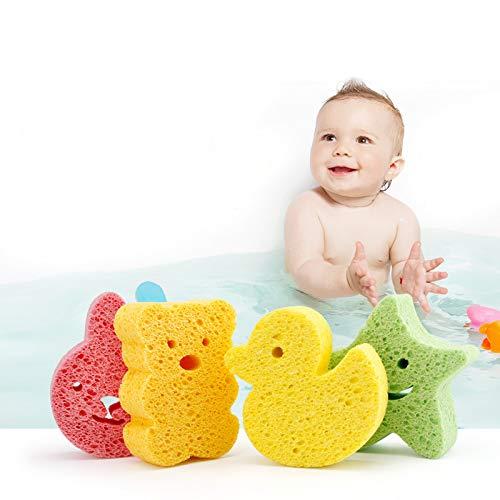 Onsinic 1Pc Gelbe Ente Form Badebürsten Handtuch AccessoriesInfant Dusche-Hahn-Wash Kinderbadeschwamm Bürsten Schwämme Rub Schwamm Baumwolle Rubbing Körper -