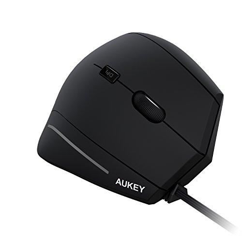 AUKEY Ergonomische Maus 2 Einstellbar DPI Vertikale Maus Ergonomische Design Prävention gegen Maus-Arm USB Wired Optisch Maus für Computer, PCs und Laptops - schwarz