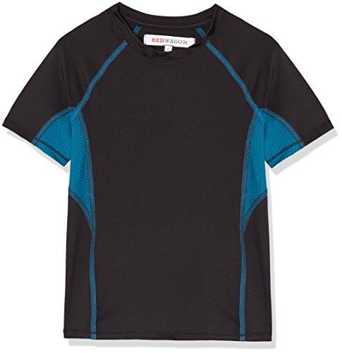 RED WAGON Jungen Atmungsaktives Sport T-Shirt, Schwarz (Black/Teal), 122 (Herstellergröße: 7 Jahre)