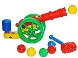 Unbekannt Ballkanone / Kanone - incl. Bälle & Hammer - 60 cm - wasserfest - für INNEN & AUßEN - z.B. für Bällepool / Bällebad / Ball - Bad - Spielzeugbälle - Kinderbäll..