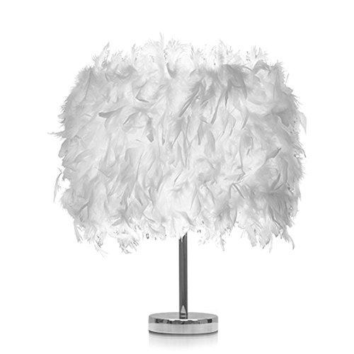 AZITEKE Creative Modern Vintage retro elegante dormitorio lámpara de noche princesa de la boda de plumas de cristal lámpara de mesa bombillas de luz LED lámparas de plumas elegante mesita de noche ilu (Estándar-blanco)