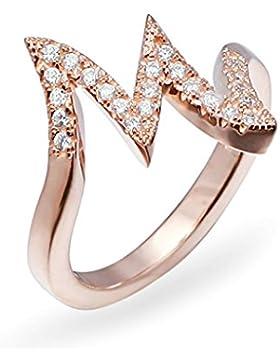 BeyDoDo Ring Damen 925 Sterling Silber Buchstabe M mit Zirconia CZ Rosegold Eheringe Hochzeit Ringe