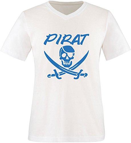 EZYshirt® Pirat Herren V-Neck T-Shirt Weiß/Blau