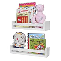 Halcent Floating Shelves Multi-Use Wall Shelf Nursery Kids Bookshelf White Wood Display Shelf