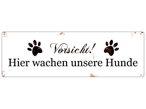 Interluxe METALLSCHILD Blech Vorsicht Hier WACHEN UNSERE * Hunde * Warnschild Haustier