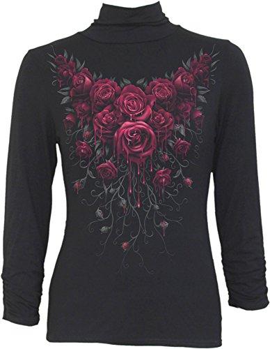 Spiral-Le donne-Blood Rose, collo alto con maniche Black Small
