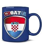 Golebros Kroatien Croatia Hrvatska Fan Artikel 4681 Fuss Ball Welt Europa Meisterschaft EM 2020 WM 2022 Kaffee Tasse Becher Geschenk Ideen Fahne Flagge Blau