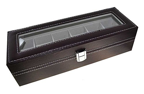 Uhrenbox Kunstleder für 6 Uhren Sammelbox Reisebox braun