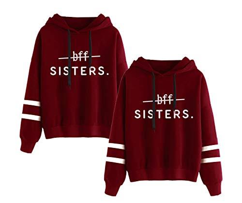Friends Sweatshirt für Zwei Mädchen Best Friends Freunde Pullover Partner Look Damen BFF Hoodie mit Kapuze 2 stücke(Rot,Sisters-XS+XS)