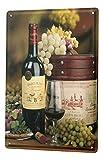 Blechschild 20X30 cm Wein Weintrauben Glas Flasche Bar Kneipe Restaurant Deko Metall Poster Schild