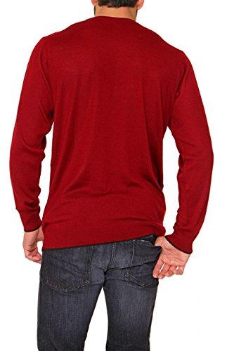 Bruno Galli Herren Pullover Rundhals MASSIMO - Oversize, Big Size Übergröße, Dunkelrot, Größe: XXL, 3XL, 4XL, 5XL, 6XL Dunkelrot