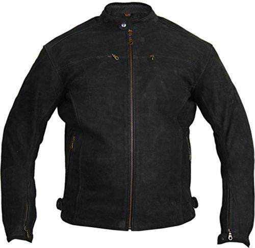 *Motorrad Lederjacke aus echtem Nubuk Leder in matt schwarz (L)*