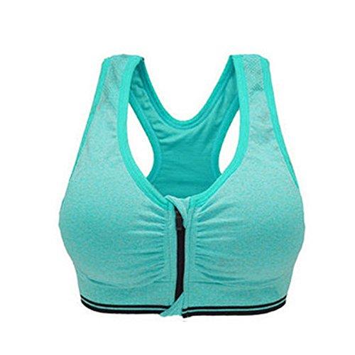 Leisial Soutiens-gorge de Sport Lingerie pour Femmes Yoga Fitness pour les Avant Zipper Sans Roues Sports Vest Course violet M