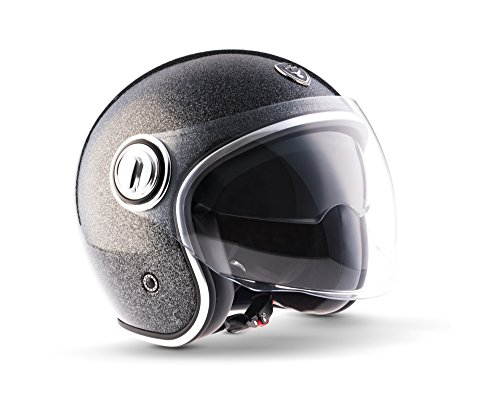 "Soxon · SP-888 Pro ""Flakes Black"" (Schwarz) · Jet-Helm · Mofa Roller Chopper Retro Motorrad-Helm Scooter-Helm · ECE certified · Separate Visors · Multi-Visor™ Ready · M (57-58cm)"
