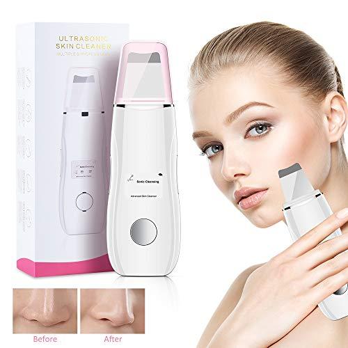 Ultraschallpeelinggerät Haut Scrubber mit LCD Anzeige USB-Kabel, Ultraschall Peeling Skin Scrubber Akne-Entferner Mitesserentferner für Gesichtsreinigung Hautpflege(Weiß)