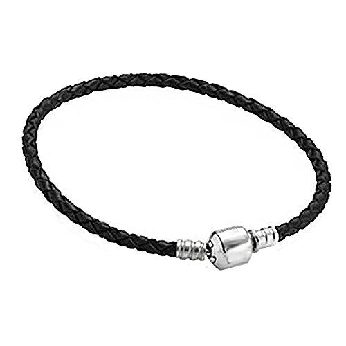 Akki beads braccialetto charms in pelle nero per ciondoli e ciondoli in argento, compatibile con pandora troll fiore club a forma di cuore e acciaio inossidabile, colore: 22cm, cod. akc-005-13