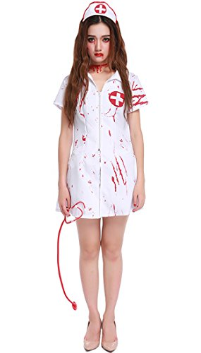 Honeystore Damen's Halloween Kostüm Damen Krankenschwester Nurse Kostüm Teufel Schwester Damen Zombie blutiges Halloween Zombiekostüm (Kostüme Erwachsene Für Teufel Hollywood)