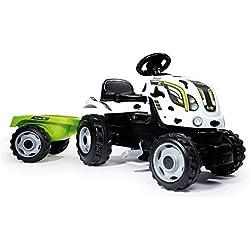 Smoby - 710113 - Tracteur Farmer XL + Remorque - Capot Ouvrable - Vache