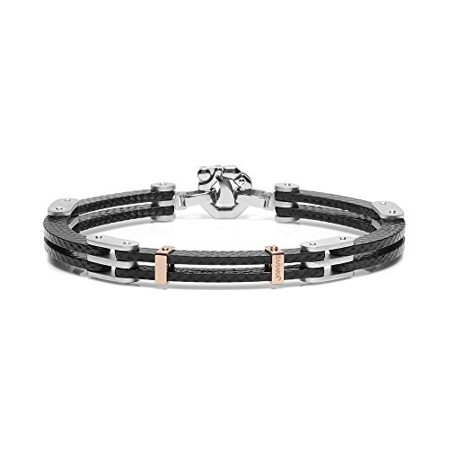 BARAKA\' Bracelet. Rose gold 750‰. 925‰ Silver. Stainless steel. Carbon fiber. White diamond P.Ct 2