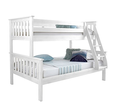 Happy Beds Atlantis White Finished Solid Pine Wooden Triple Sleeper Bunk Bed With 2x Memory Foam Mattress