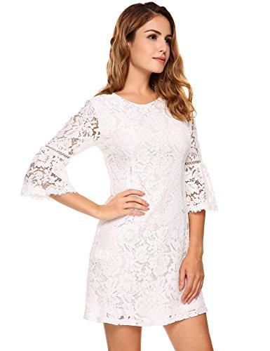 Meaneor Damen Spitzenkleid Etuikleid Abendkleid mit 3/4 Arm Runhalsausschnitt (Baumwolle Gefüttert, Clutch)