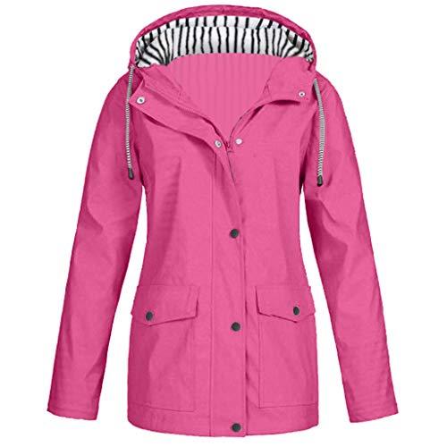 LILIGOD Frauen Einfarbig Regenmantel Reißverschluss Regenjacke Outdoor wasserdichte und Winddichte Jacke mit Kapuze Lose Größe Wintermantel Winter Langer Warme Jacken Outwear