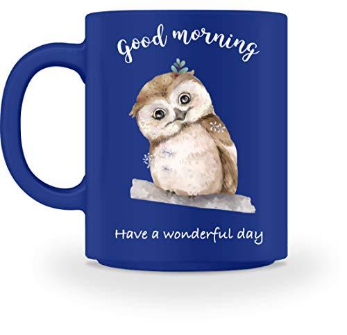 Jimbeels Guten Morgen | Kaffee & Tee | Lustige kleine Eule | Kaffeetasse - Tasse -M-Royal Blau (Blaue Eule Kaffee Tasse)