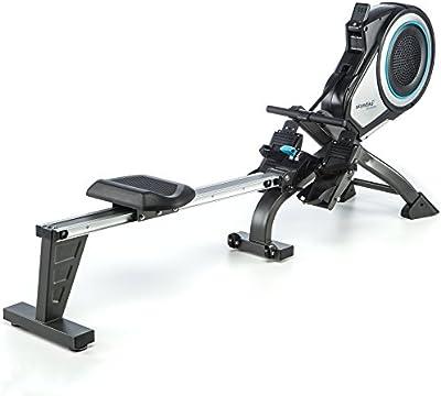 skandika Elite Pro - máquina remo - plegable - tecnología turbina - Max.130 kg - Correa de pecho con pulsometro - 8 niveles de resistencia